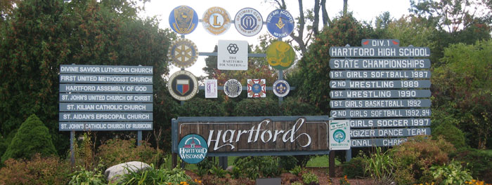 Welcome to Hartford, Wisconsin (Courtesy of Hartford Chamber of Commerce)